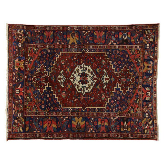 Antique Bakhtiari Persian Rug with Traditional Modern Style For Sale - Image 4 of 8