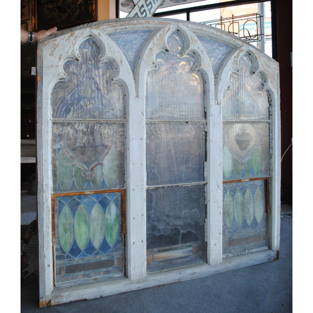 Antique Stained Glass Church Window - Image 4 of 8