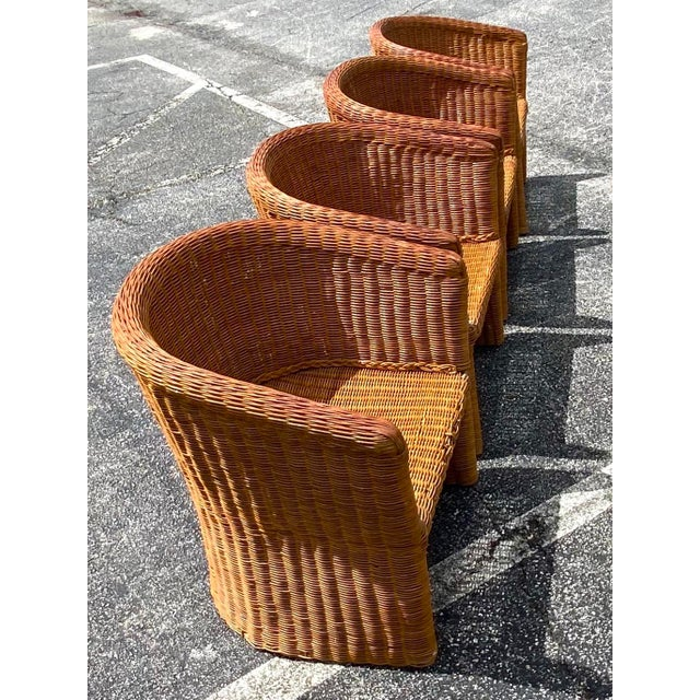 Vintage Boho Chic Rattan Barrel Chairs -Set of 4 For Sale - Image 10 of 13