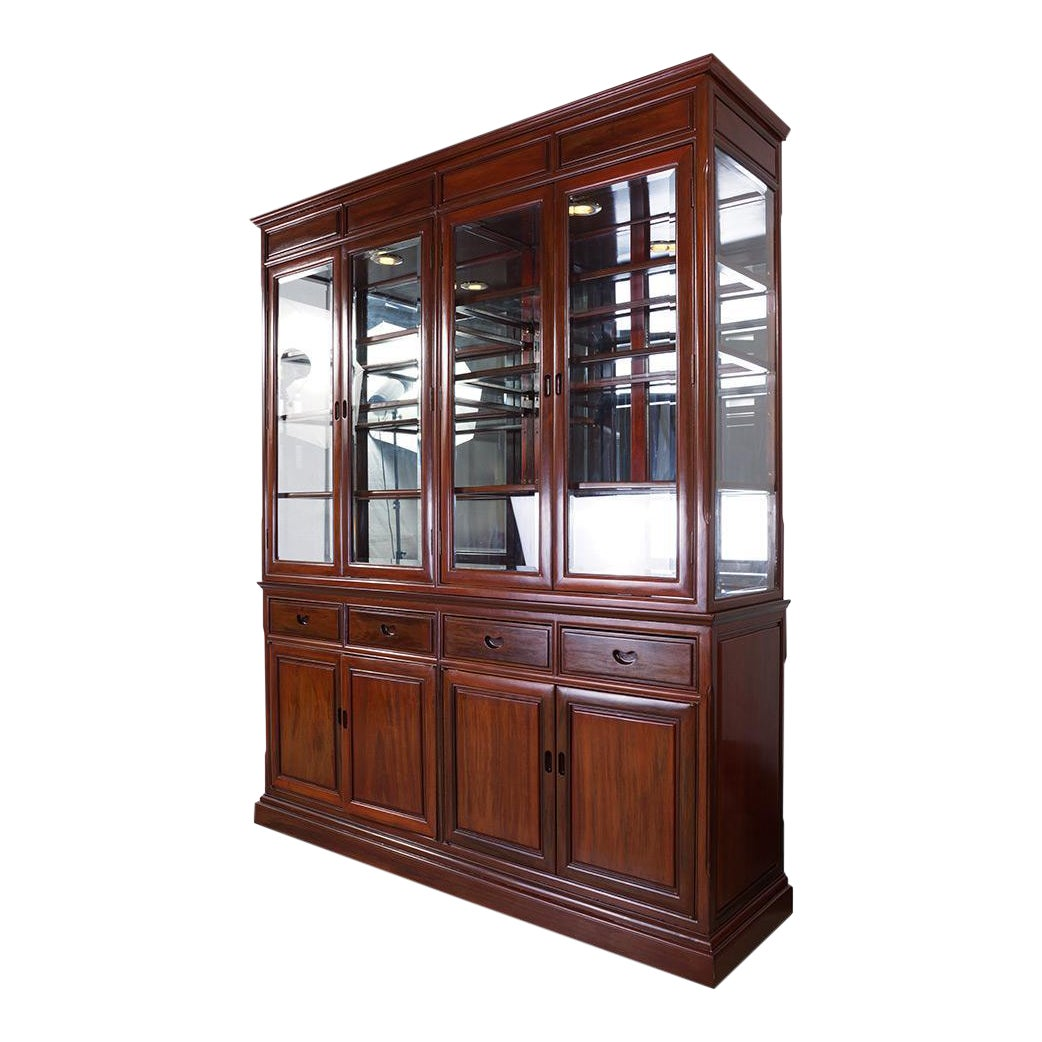 Chinese antique rosewood china cabinet chairish