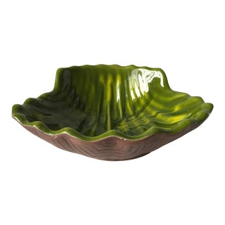 Vintage McCoy Glazed Faux Bois Shell Bowl For Sale