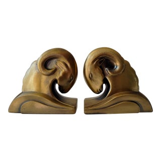 Brushed Brass Rams' Heads Bookends - A Pair