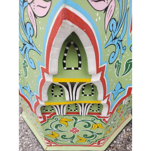 Moroccan Lg Ceuta 3 Painted and Carved Star Table, Multi-Color For Sale In Orlando - Image 6 of 8