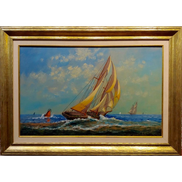 "E. D. Ward - Sailboat Racing - 1950s Painting impressionist - gouache on board - Signed -circa 1950s frame size 34 x 26""..."