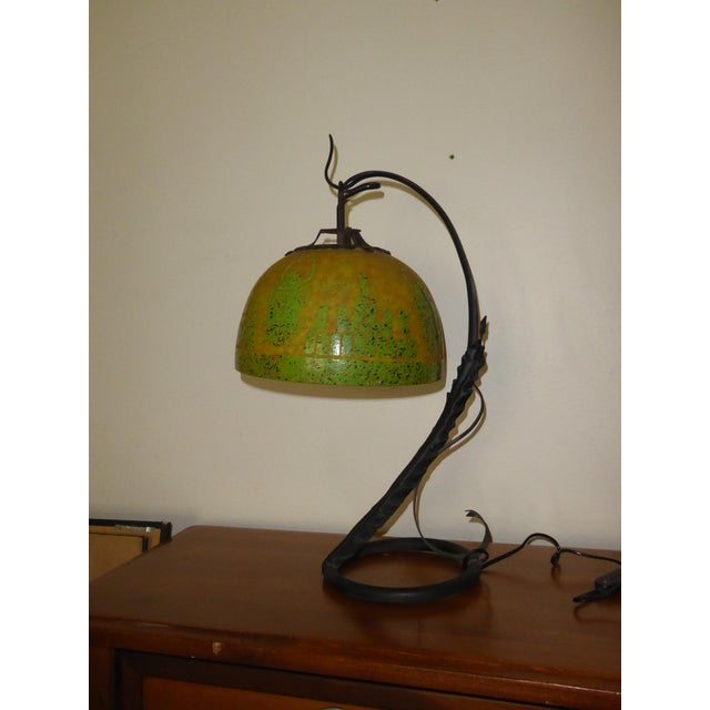 Charles Schneider Art Deco French Cameo Glass Green Table Lamp Light by Charder ~Charles Schneider For Sale - Image 4 of 10