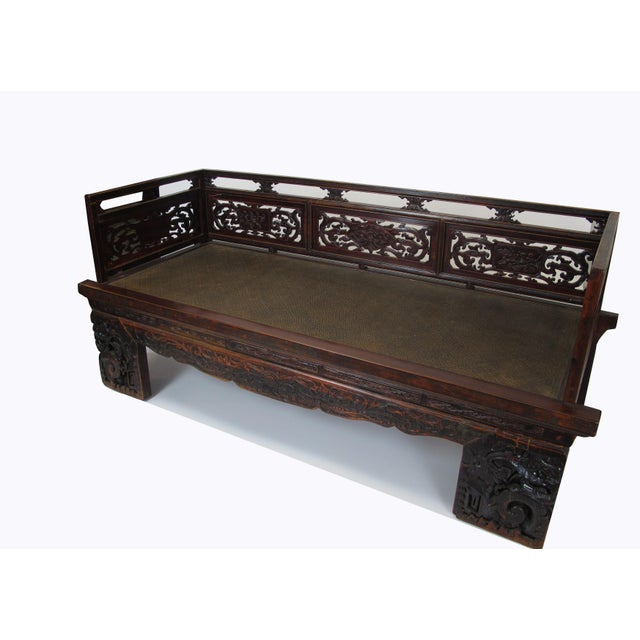 1900s Antique Chinese Daybed With Hand Carved Railing For Sale In Boston - Image 6 of 11
