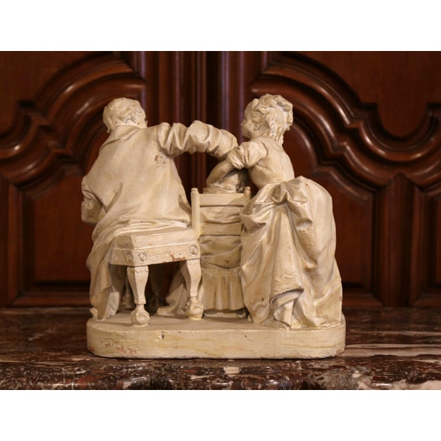 "19th Century American Cast Plaster Sculpture ""Playing Doctor"" Signed John Rogers For Sale - Image 11 of 13"
