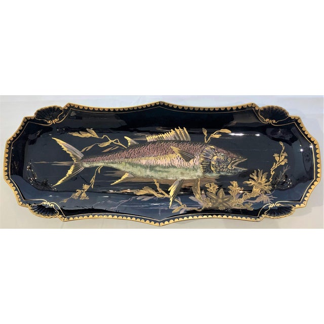 "Antique French Limoges Cobalt and Gold Painted Porcelain Fish Service of 10 Plates and 1 Platter, Circa 1890. Platter: 2""..."