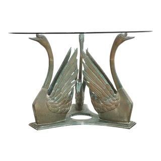 Vintage Bronze Patina Swan Table For Sale