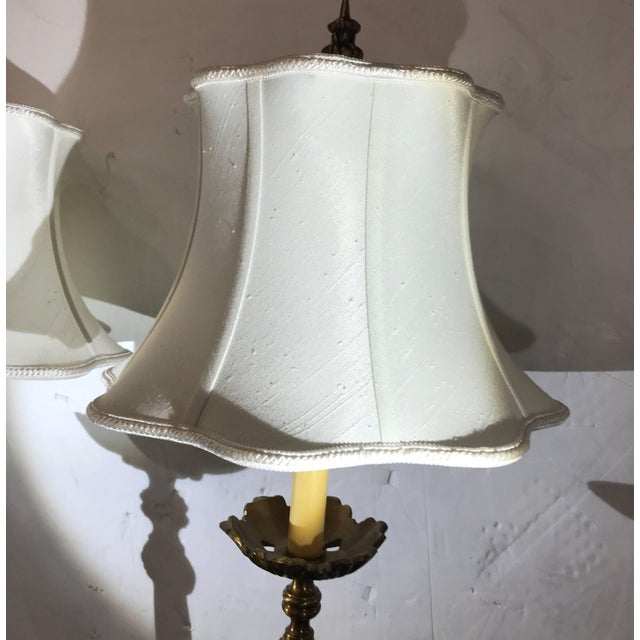 1990s Cast Brass Tall Buffet Lamps - a Pair For Sale - Image 5 of 10