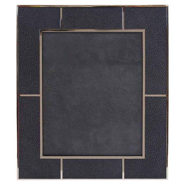 Black Shagreen Nickel-Plated Photo Frame by Fabio Ltd For Sale