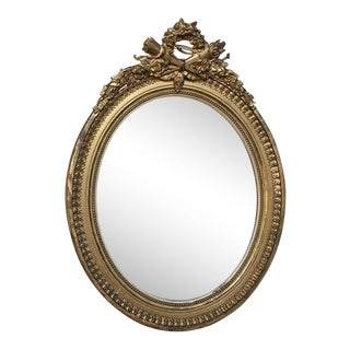 19th Century French Louis XVI Oval Gilded Mirror For Sale