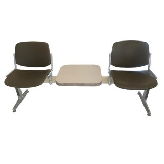1970s Piretti for Castelli Anonima Airport Bench Seat in Olive Green For Sale