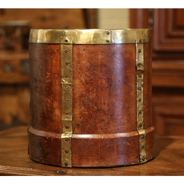 19th Century French Walnut, Brass and Iron Grain Measure Bucket or Waste Basket For Sale In Dallas - Image 6 of 9