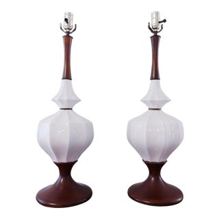 1960s Mid Century Modern Ceramic Tulip Base Lamps - a Pair For Sale