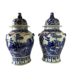 "Porcelain Chinoiserie B & W Ginger Jars 23"" H For Sale"