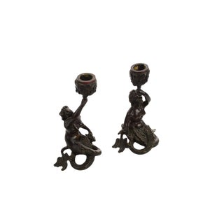 19th Century Bronze Figural Mermaid Candlesticks -A Pair For Sale