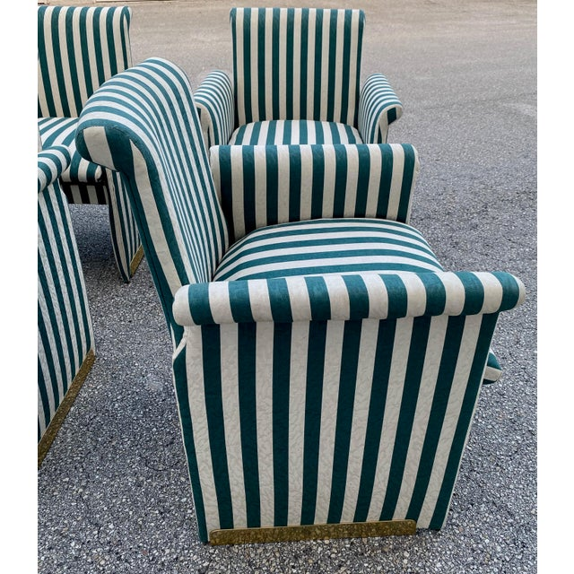 Green Vintage Dining Chairs With Brass Accents - Set of 6 For Sale - Image 8 of 11