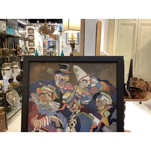 """Most unusual large clown painting in a """" cubist"""" style. Larger piece w/ great color assortment. Dating from the 50-60s the..."""
