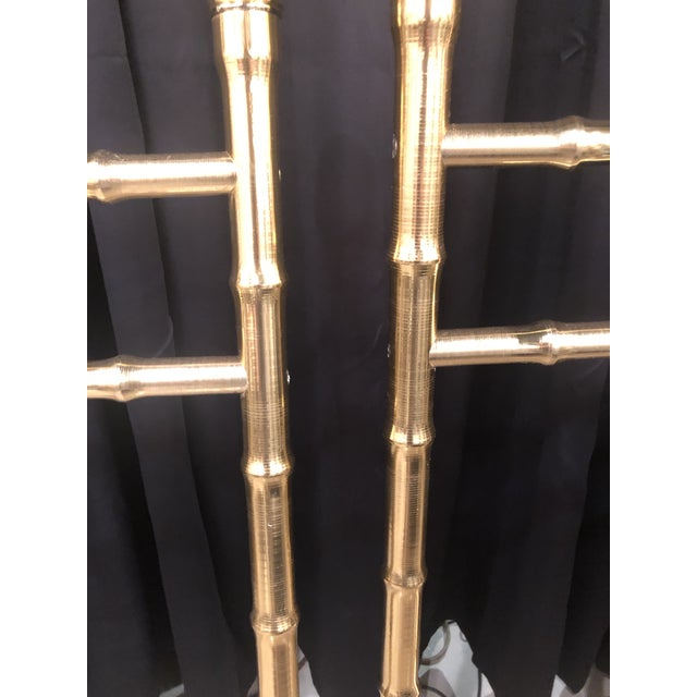 Gold Vintage Hollywood Regency Brass Faux Bamboo Twin Size Headboards - A Pair For Sale - Image 8 of 13