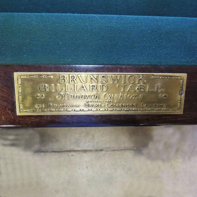 Metal 1915 Brunswick Arcade Pool Table With Rare Six-Legged Base For Sale - Image 7 of 9