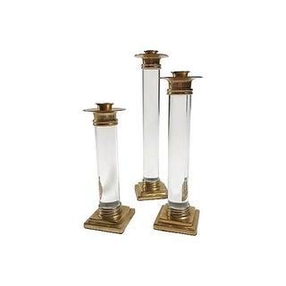 Lucite & Brass Candlesticks, S/3 Preview