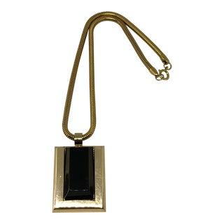 Lanvin 1970's Black Lucite Pendant Choker Necklace For Sale