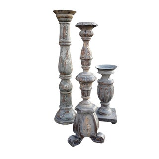Rustic Farmhouse Shabby Distressed Large Trio Candleholders For Sale