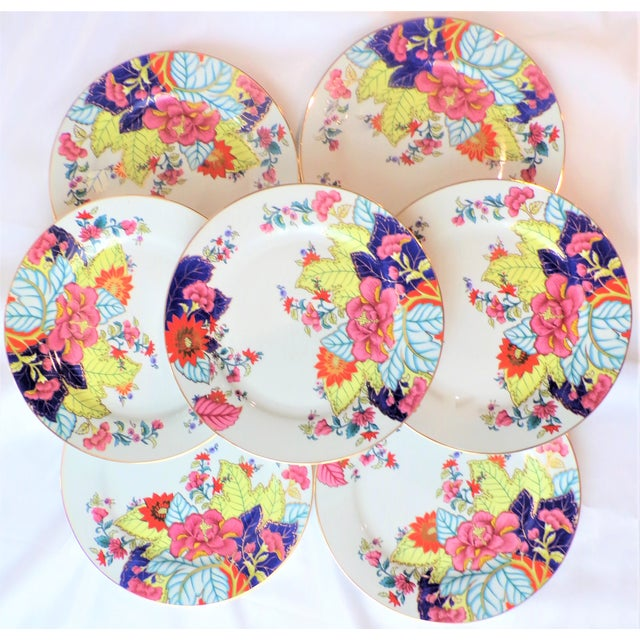 This is a beautiful set of vintage porcelain Dinner plates in a beautiful Tobacco Leaf pattern. This set is a set of 7...