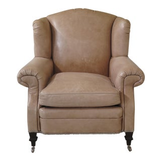 Ralph Lauren Tan Leather Wingback Chair For Sale