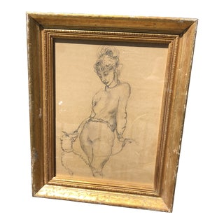 Pencil of Woman With Dog on a Leash in Gilt Frame For Sale