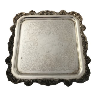 Vintage Square Ornate Silverplate Footed-Tray by Poole 12x12 For Sale