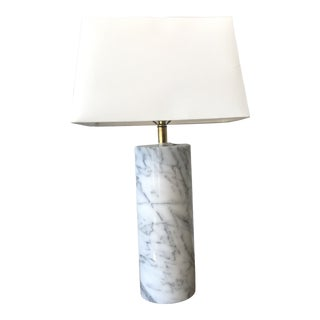 1960s Italian Marble Table Lamp With Shade For Sale