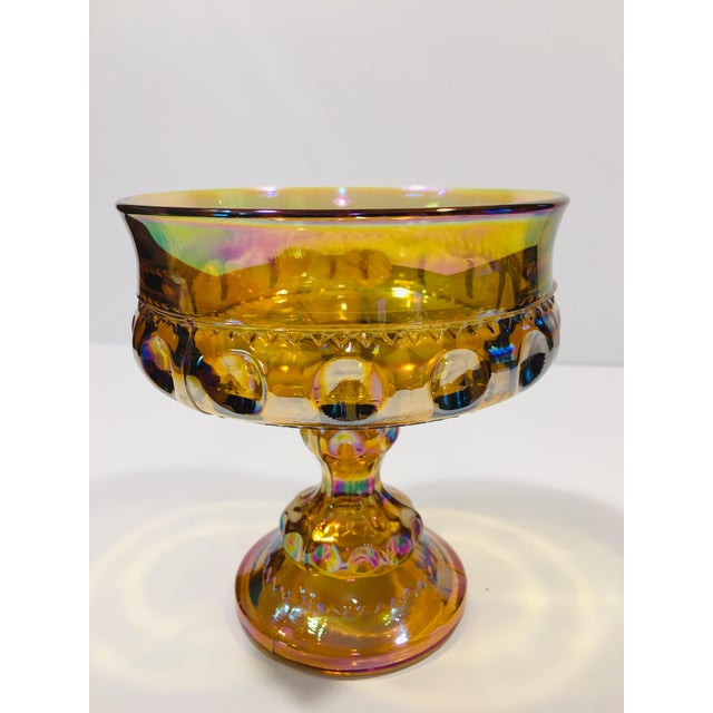 Shimmering carnival glass Compote/Wedding Bowl by Indiana Glass in the Crown & Thumbprint pattern. Indiana Glass Company...