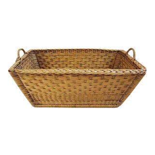 French Woven Willow Wicker Basket W/ Handles For Sale