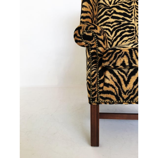Traditional Georgian Style Mahogany Wingback Armchair in Scalamandré Le Tigre For Sale - Image 3 of 8
