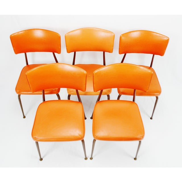 Mid-Century Modern Orange Dining Chairs - Set of 5 - Image 4 of 11