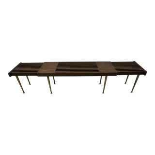 1960s John Keal Era Bench/Coffee Table With Brass Legs For Sale
