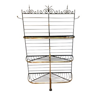20th Century French Iron and Brass Baker's Rack For Sale