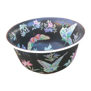 1980s Vintage Asian Black Butterfly Lillys Macau Bowl For Sale