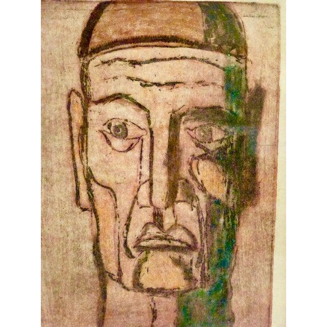 White Original Cubist Movement Block Print Portrait For Sale - Image 8 of 9