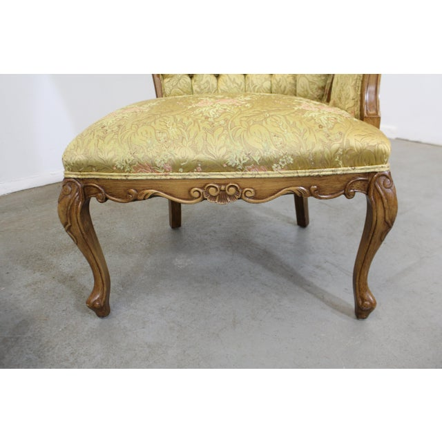 Pair of Vintage French Tufted Fireside Ladies Parlor Arm Chairs For Sale - Image 12 of 13