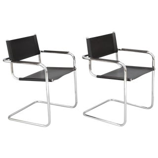 Chrome Cantilevered Armchairs, a Pair For Sale