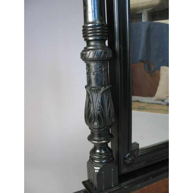 Antique 19th Century Ebonized & Burled Cheval Mirror For Sale In New York - Image 6 of 9