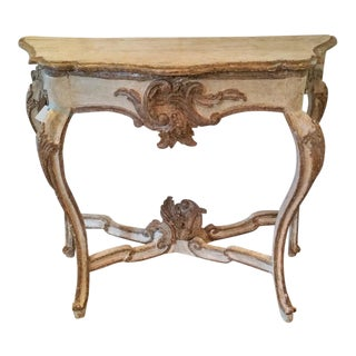 18th Century Rococo Italian Console Featuring Beautiful Painted and Gilt Hand Carved Wood Elements and Cross Stretcher. For Sale