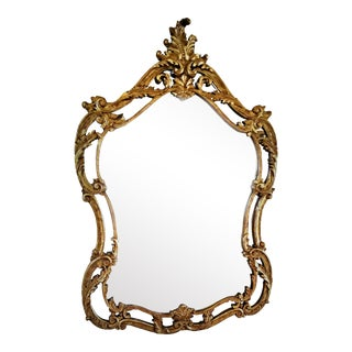 Italian Baroque Style Carved Giltwood Mirror, Mid-19th Century For Sale