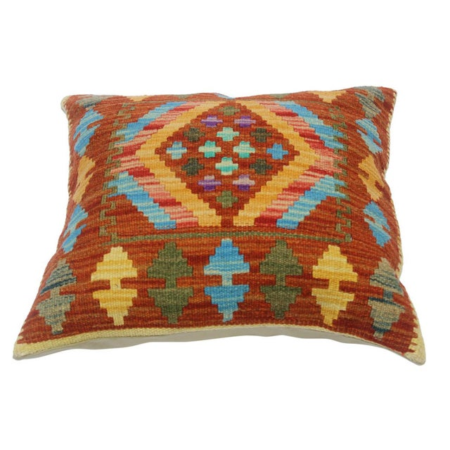 "Asian Clementi Rust/Lt. Blue Hand-Woven Kilim Throw Pillow(18""x18"") For Sale - Image 3 of 6"