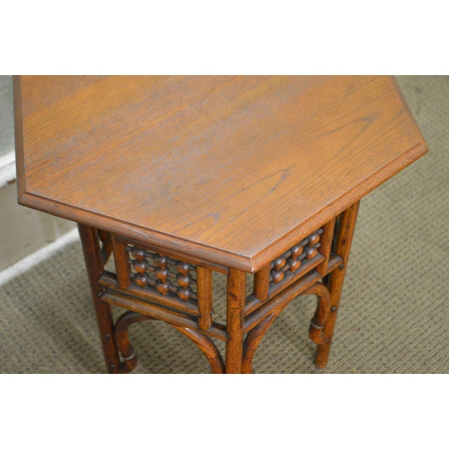 Antique Oak Stick & Ball Hexagon Taboret Plant Stand For Sale In Philadelphia - Image 6 of 11
