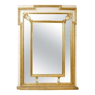 Regency Style Mirror With Painted and Giltwood Decoration For Sale