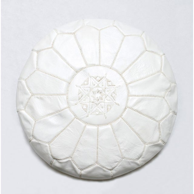 Handmade Moroccan White Leather Pouf - Image 2 of 3